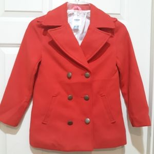 Old Navy Girl's Red Pea Coat w gold Buttons